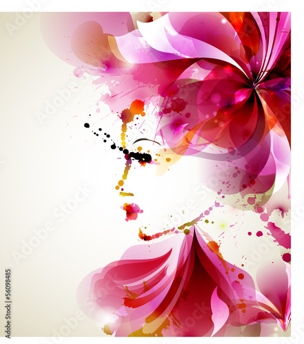 Door stickers Floral woman Beautiful fashion women with abstract hair and design elements