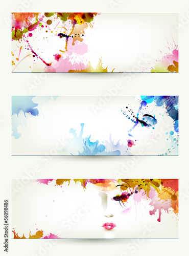 Door stickers Floral woman Beautiful abstract women faces on three headers