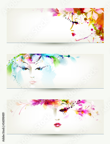 Poster Bloemen vrouw Beautiful women faces on three headers