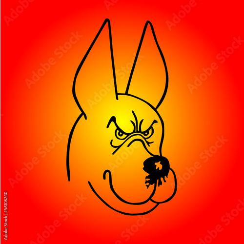 Fotobehang Draw Angry dog vector illustration
