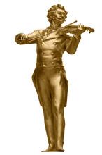 Johann Strauss Golden Statue On White