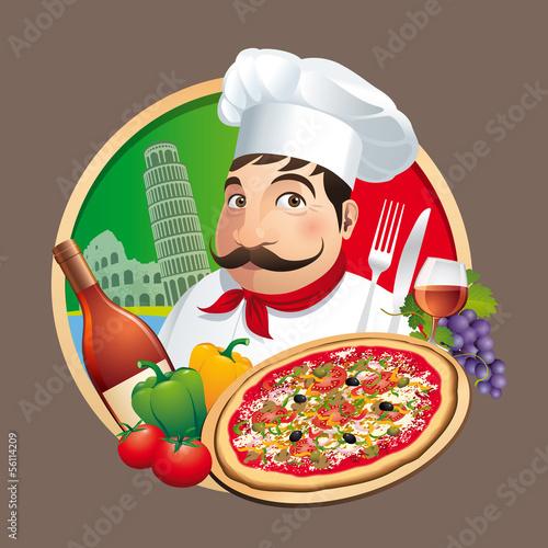 Pizzeria Restaurant Menu Carte - Vecteur CMJN Poster Mural XXL