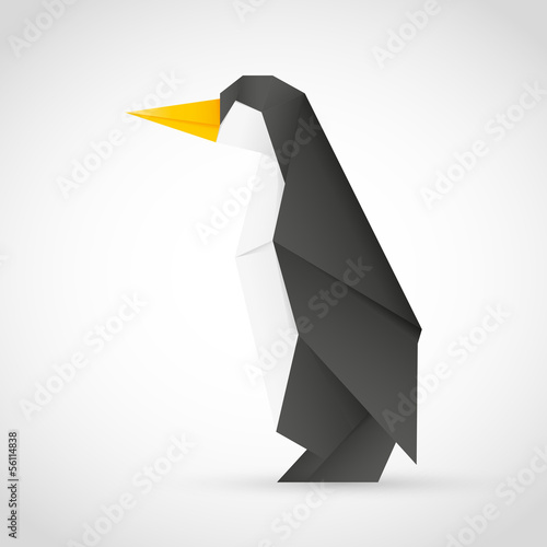 Poster Geometric animals Origami Pinguin
