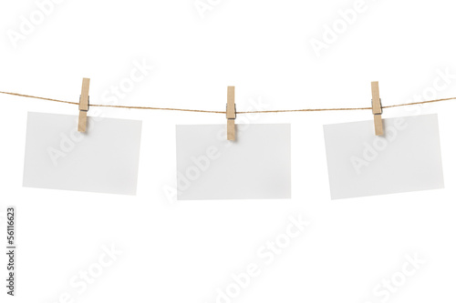 Fotografie, Obraz  paper cards hanging on the rope