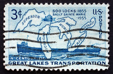 Postage Stamp USA 1970 Map Of Great Lakes