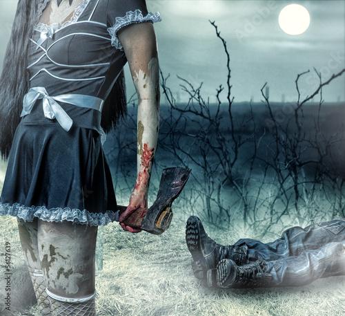 In de dag Volle maan Halloween horror concept.