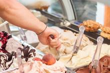 Selling Ice-cream In Italian Gelateria