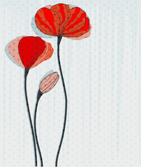 Naklejka Greeting card with red poppies