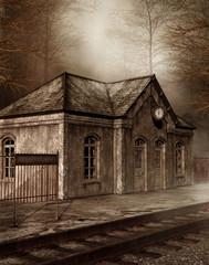 Fototapeta na wymiar Stara stacja kolejowa w lesie