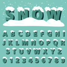 Retro Type Font With Snow