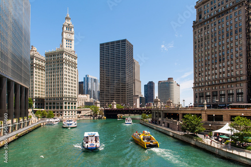 Poster Chicago The river and the buildings of Chicago