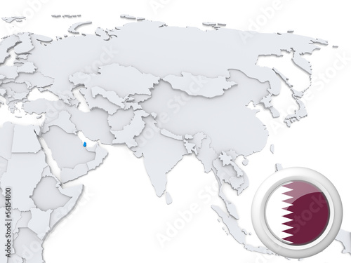 Map Of Asia Qatar.Qatar On Map Of Asia Buy This Stock Illustration And Explore