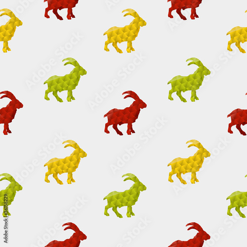 Poster Geometric animals Abstract goat isolated on a white background. Seamless pattern