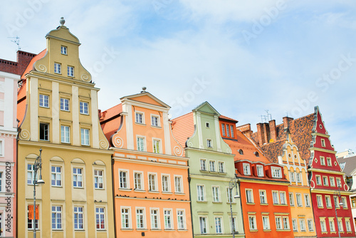 Photo Stands Beautiful facades of buildings in Wroclaw