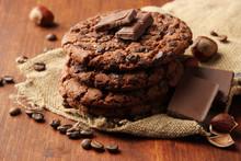 Homemade Cookies With Sesame Seeds, Chocolate,
