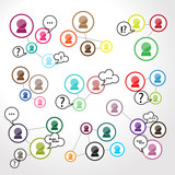 Social Network Circles - Isolated On Gray Backgroun