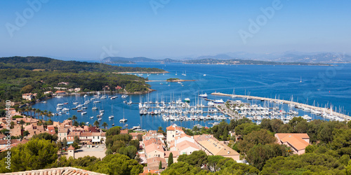 Fotobehang Nice View of Porquerolles island marina in France