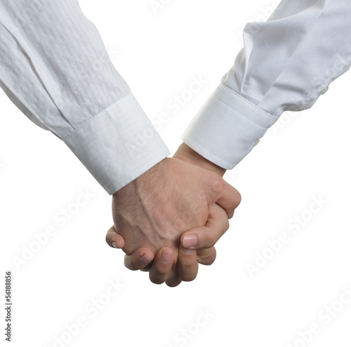 Photo two men clasped hands in love