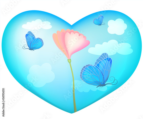 Poster Turkoois Delicate blue heart of the clouds, butterflies, flowers, origina