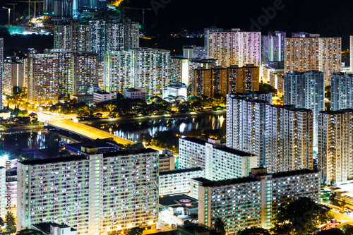 Public housing in Hong Kong at night Poster
