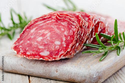 Fototapeta Slices of salami obraz