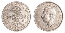 Two Old British Shillings Coin...