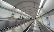 Subway Escalator With Motion Blur