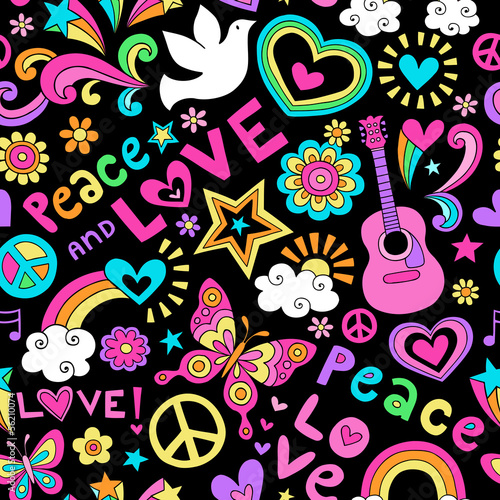 Foto  Peace and Love Seamless Pattern Vector Doodle