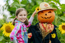 Scarecrow And Happy Girl  In T...