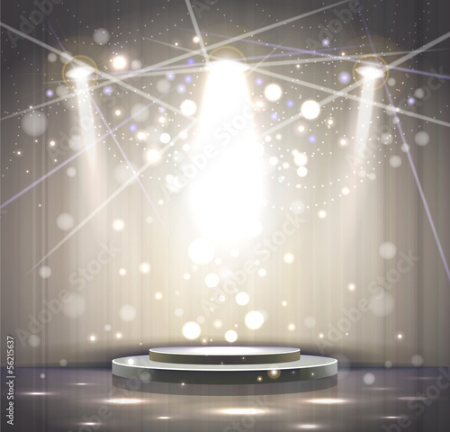 Foto op Canvas Licht, schaduw spotlight effect gray scene background