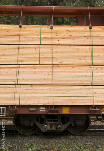 Fotografie, Obraz  Lumber Loaded Railroad Car Transportation Boxcar Lumber