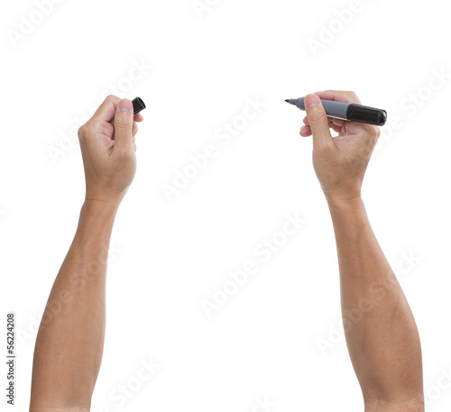 man's hand with black pen isolated on white background