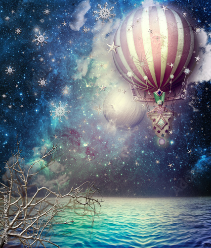 Photo Stands Imagination Hot fire balloon in the starry sky