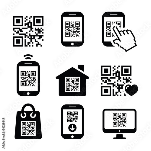 Fotografie, Obraz  QR code on mobile or cell phone icons set