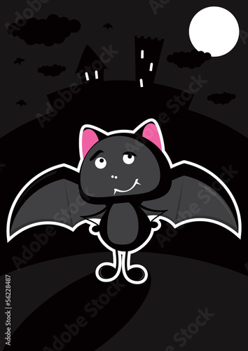 Canvas Prints Fairytale World Funny bat in the night