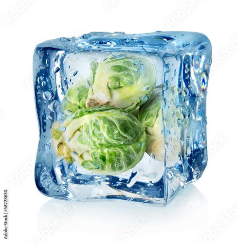 Staande foto In het ijs Brussel sprouts in ice cube