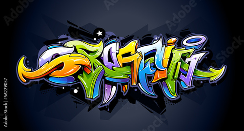 Deurstickers Graffiti Bright graffiti lettering