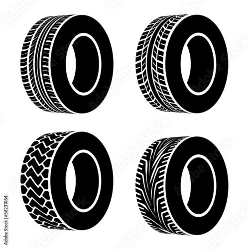 Stampa su Tela vector black tyre symbols