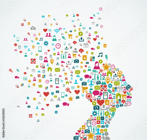 Photographie Female human head shape with social media icons design EPS10 fil