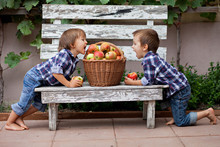 Two Boys, Playing With Apples