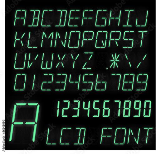 Glowing LCD font Wallpaper Mural