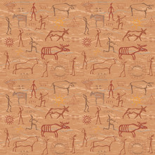 Seamless Pattern In The Style Of Rock Painting
