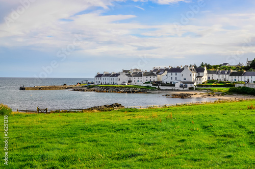 Obraz na plátně View of harbour and town Port Charlotte on Isle of Islay