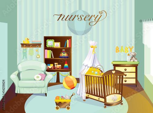 Spoed Foto op Canvas Violet nursery baby