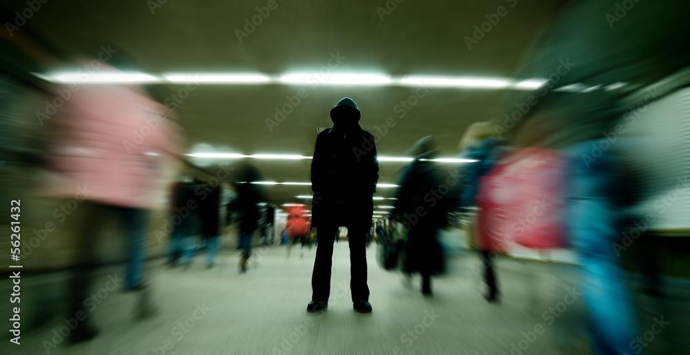 Fototapeta Black silhouette standing in crowd