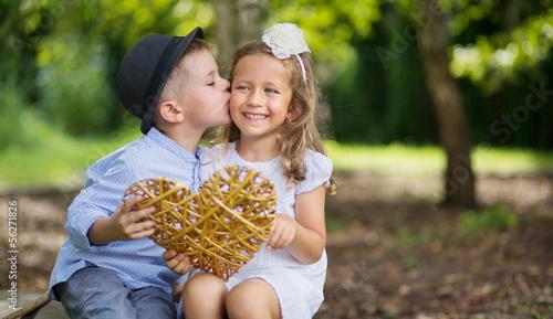 Printed kitchen splashbacks Artist KB Great portrait of two kissing kids