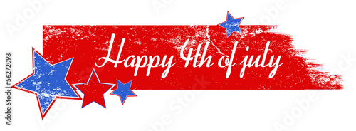 Fotografia  Greeting text over grunge brush stroke - 4th of July Vector