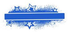 Blue Banner - Grunge Stars Vector