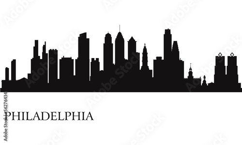 Fotografía  Philadelphia city skyline silhouette background