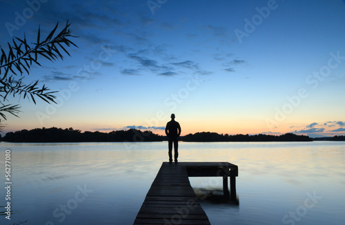 Foto  Tranquil sunset @ lake